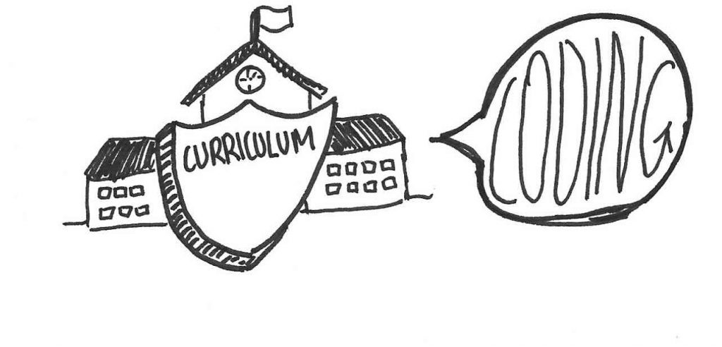 Badge saying curriculum in front of a school with a speech bubble saying coding
