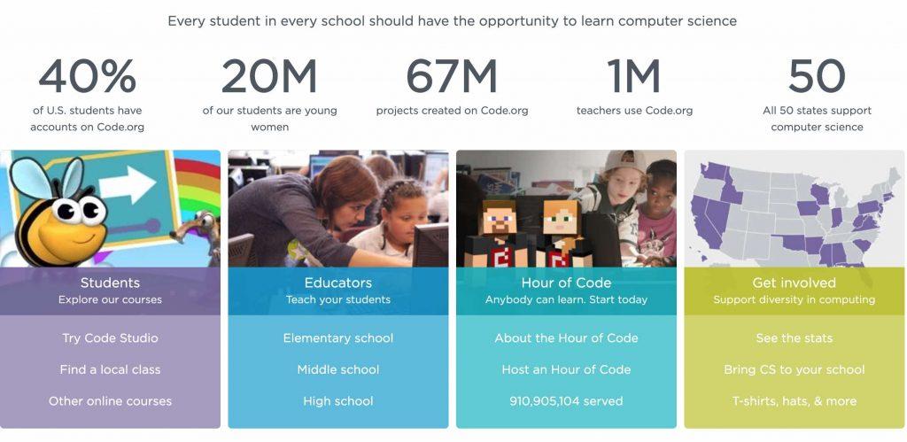 screenshot of code.org website