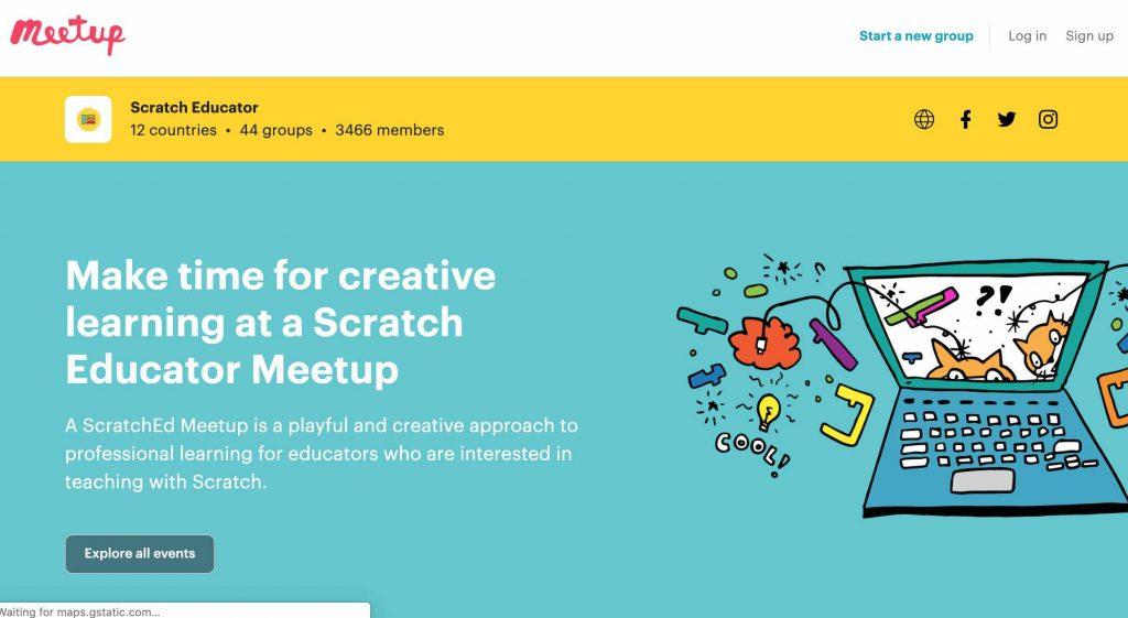 screenshot of scratchED meetup website